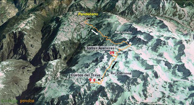 Mapa de la ruta a las Torres Areneras y los Cuetos del Trave en Picos de Europa.