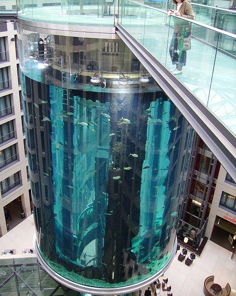 O que ver e fazer de graça em Berlim? Mais de cem atrações e atividades grátis - Aquadom - aquário cilíndrico no Radisson Hotel em Berlim