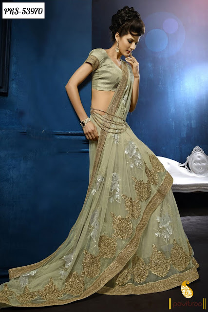 olive color beautiful silk designer saree online shopping collection with discount sale at pavitraa.in