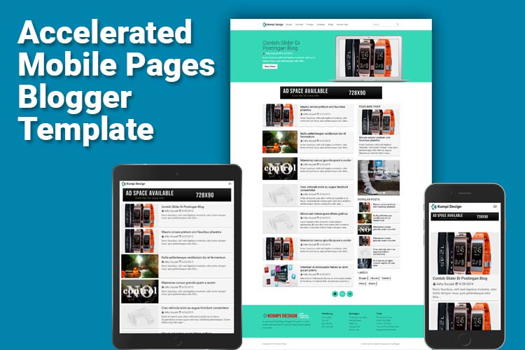 Kompi Design Blogger Template With Google AMP