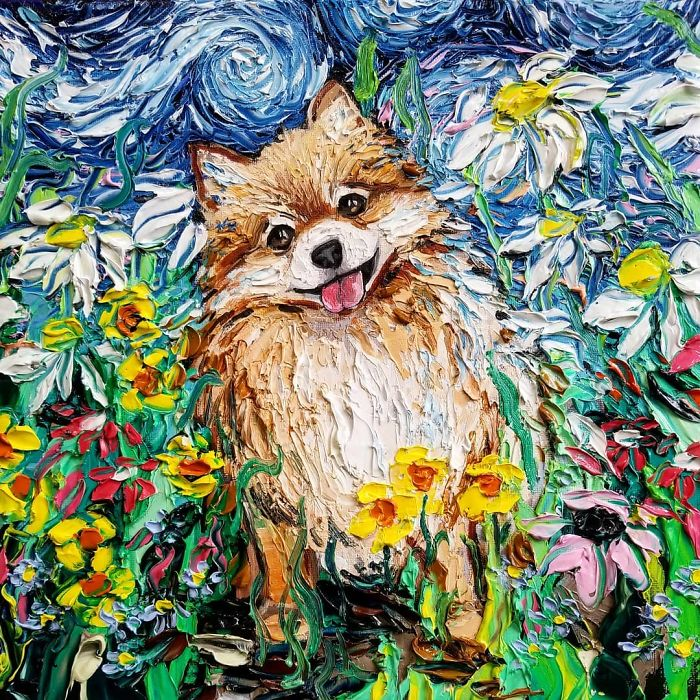 Artist Whose Beautiful Painting Was Mistaken For A Van Gogh Created Incredible 'Starry Night' Dog Series