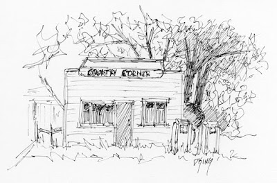 art sketch pen ink gas station abandoned rural vintage