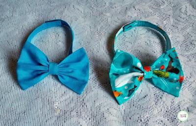 gravatas borboleta infantis feitos em tricoline de algodão fundo do mar e azul turquesa
