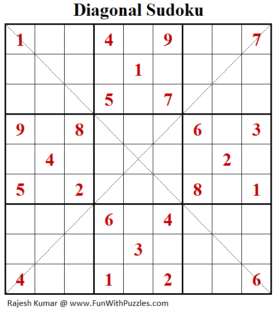 Diagonal Sudoku (Puzzles for Adults #176)