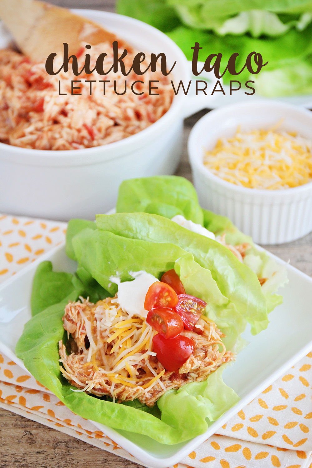 These chicken taco lettuce wraps are made in the slow cooker and so flavorful and delicious! They're the perfect healthy meal for a busy day.