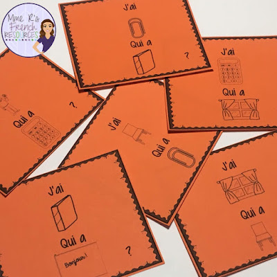 J'ai qui a... ? speaking and listening game for French school supplies