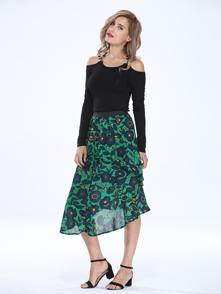 Retro Floral Ruffles Asymmetrical Stretch Waist Women Skirt