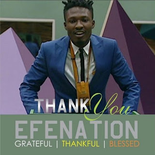 Efe appreciating Nigerians for their love