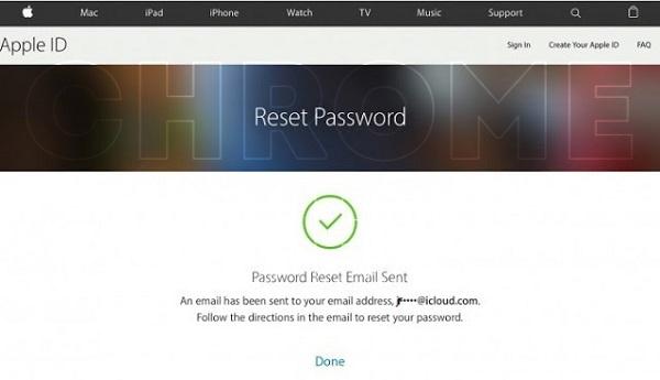 apple password reset email