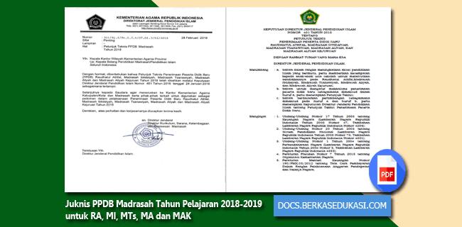 Juknis PPDB Madrasah Tahun Pelajaran 2018-2019 untuk RA, MI, MTs, MA dan MAK