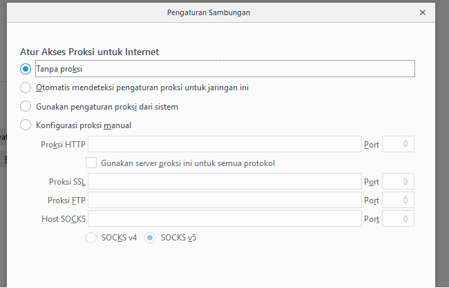 Pengaturan Jaringan Browser