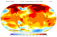 March 2016 Surface Temperature Anomoly (Credit: NASA) Click to Enlarge.
