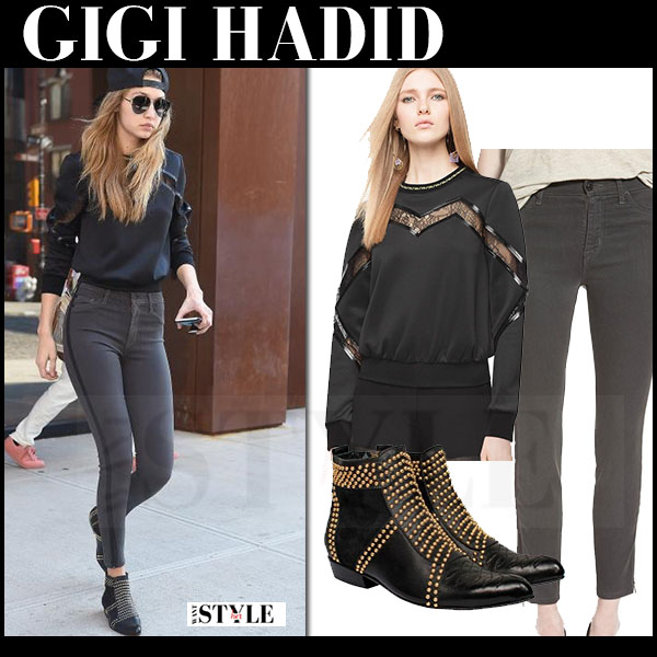Gigi Hadid in black Versace sweatshirt, grey skinny jeans hudson barbara ankle ankle boots what she wore streetstyle
