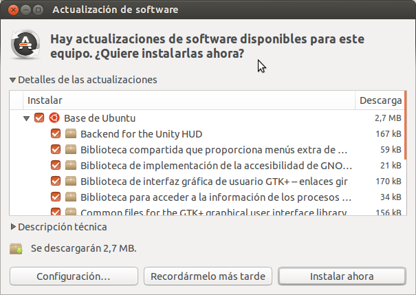 Actualización de software