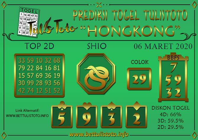 Prediksi Togel HONGKONG TULISTOTO 06 MARET 2020