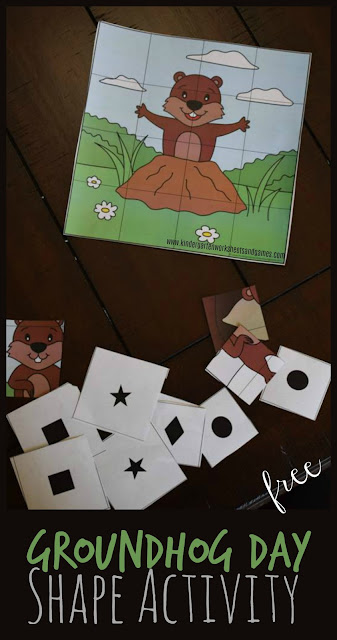 FREE Printable Groundhog Day Shape Activities is a fun way for preschool and kindergarten to practice identifying shapes with a fun themed activity. Perfect early math for February! #groundhogday #shapes #shapeactivity #toddler #preschool #kindergarten #kindergartenmath #kindergartenworksheetsandgames