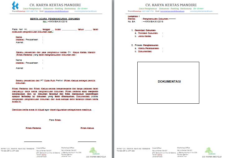 Berita Acara Penghancuran Dokumen ~ CV Karya Kertas