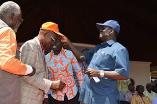 Onyango Oloo welcomed by Hon. Raila Odinga in ODM. PHOTO| ODONGO RODGERS.