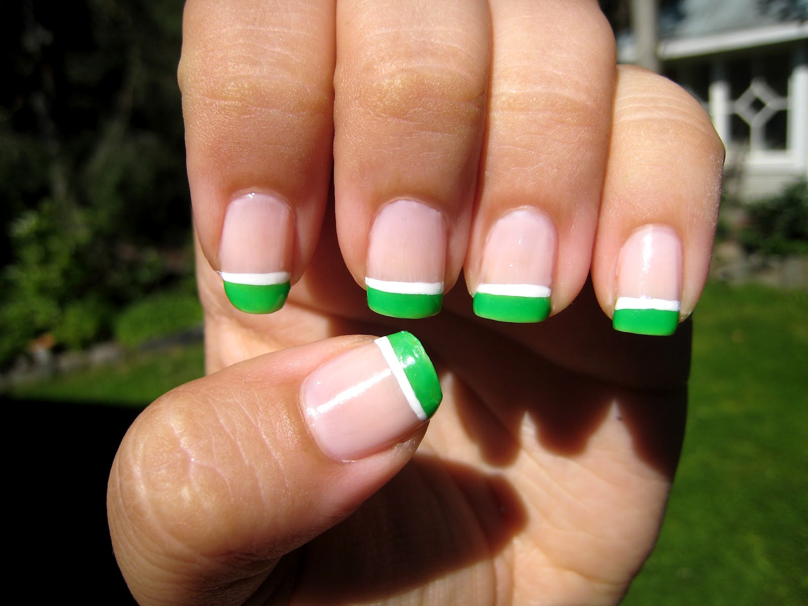 Purple Polish: Neon-Green French Manicure