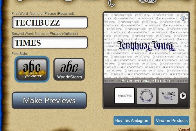 Create Ambigrams Using Online Ambigram Generator