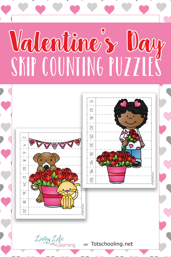 FREE Valentine's Day puzzles for preschool and kindergarten kids to practice counting and skip counting in a fun, hands-on way. Perfect math activity for Valentine's Day!