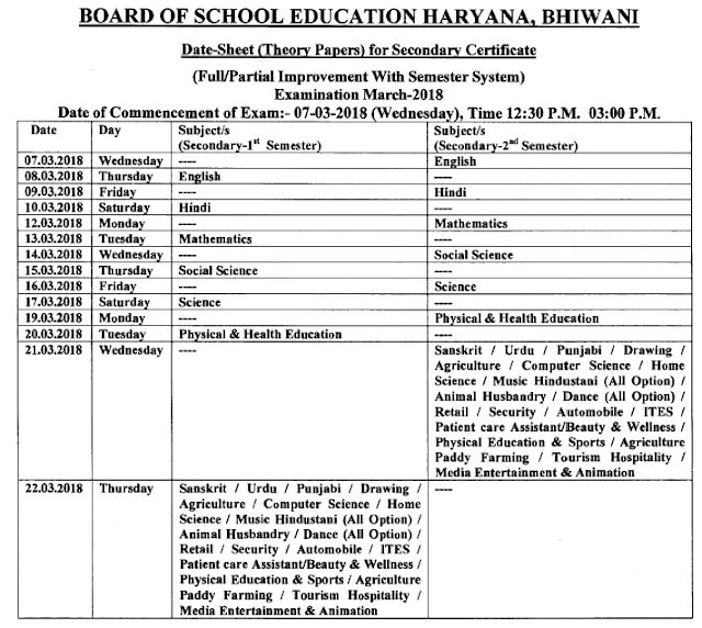 Haryana 10th Class 1st and 2nd Semester Exam Time Table March 2018