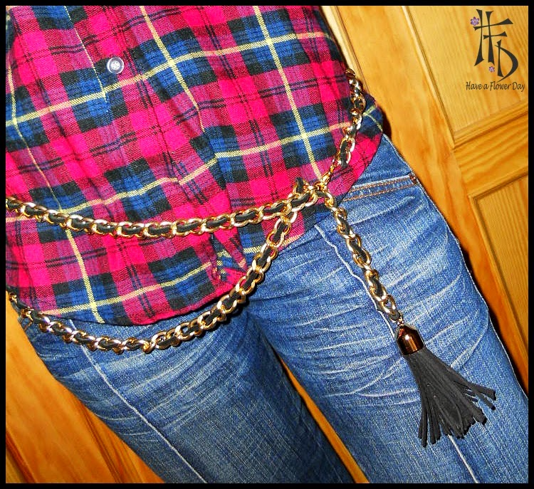 #01. Cinturón de cadena y ante / Chain and suede belt
