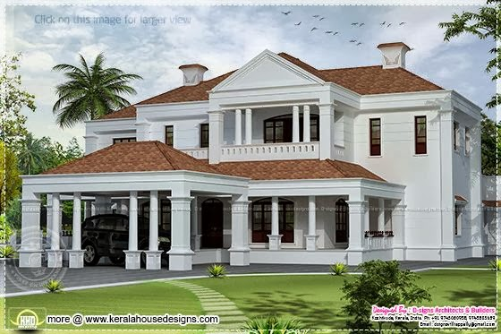 5900 sq ft colonial style villa exterior elevation for Colonial style house plans kerala