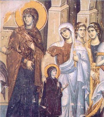 Τα Εισόδια της Θεοτόκου από τον Μανουήλ Πανσέληνο (1295) στον ναό του Πρωτάτου στο Άγιον Όρος.