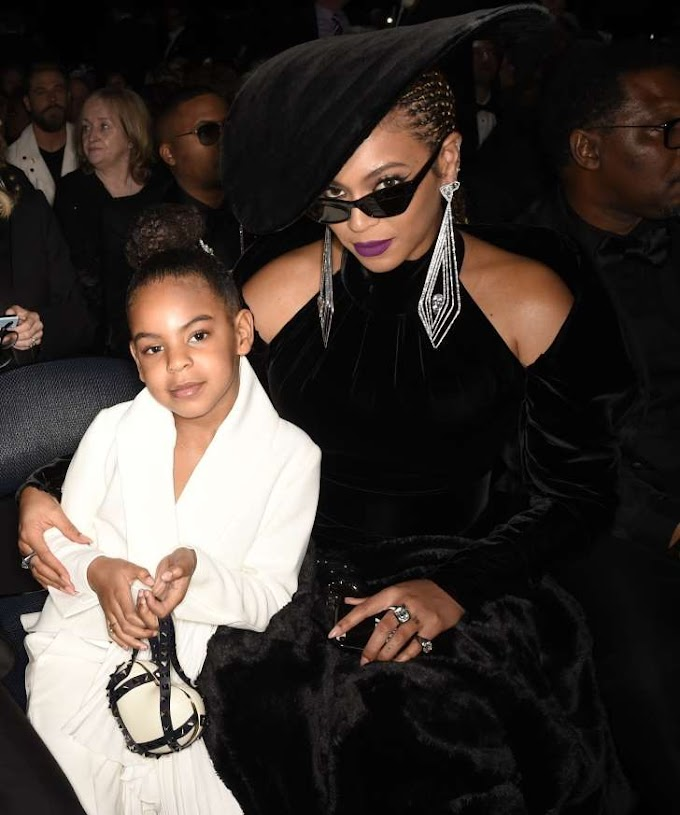 Blue Ivy Carter matches mom Beyonce in gold, bids $19,000 in art auction