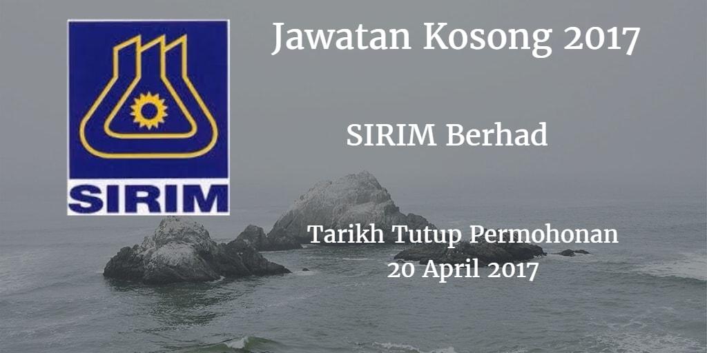 Jawatan Kosong SIRIM Berhad 20 April 2017