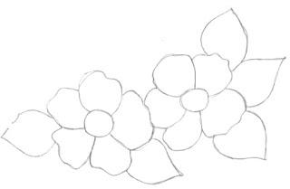 pintura em tecido flores risco pano de prato