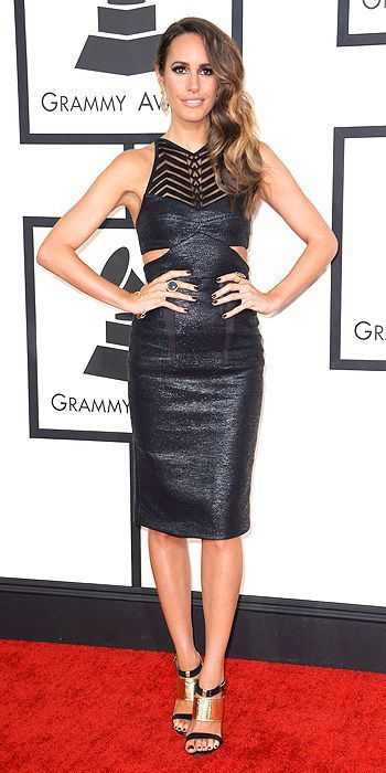 host Louise Roe in a Manning Cartell dress at the Grammys 2014