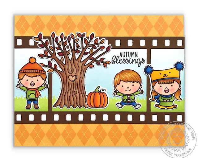Sunny Studio Stamps Autumn Tree Card featuring Happy Harvest & Fall Kiddos stamps, Fall Flicks Filmstrip dies and Amazing Argyle Patterned Paper