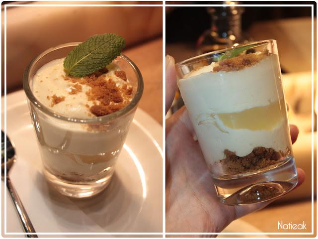 crème mascarpone et une compote de pommes