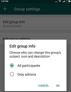 Whatsapp restrict group feature
