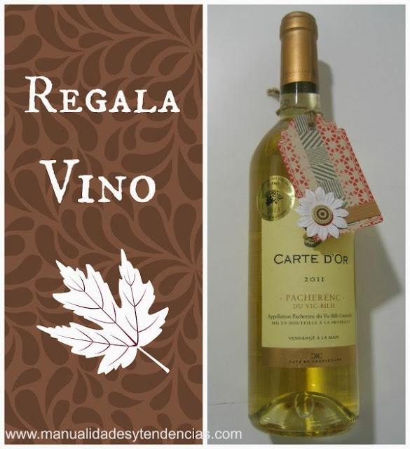 Idea regalo Botella de vino con etiqueta scrapbooking