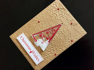 Hand Made Christmas Tree Shaker Card with Embossed Background