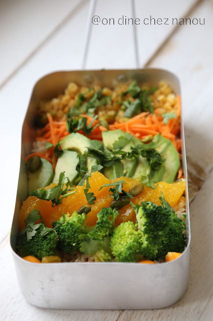 buddah bowl , salade vitaminé, équilibré , déjeuner , lentilles corail , avocat