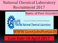 National Chemical Laboratory Recruitment 2017–Scientist & Senior Scientist