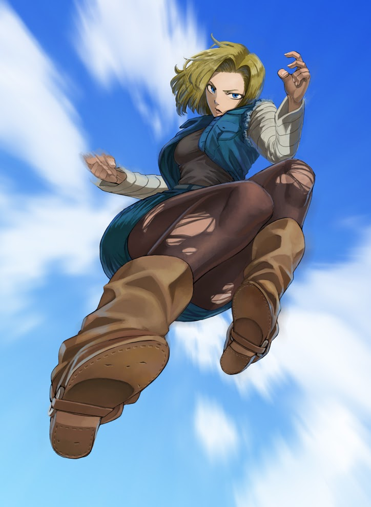 android 18 flying down