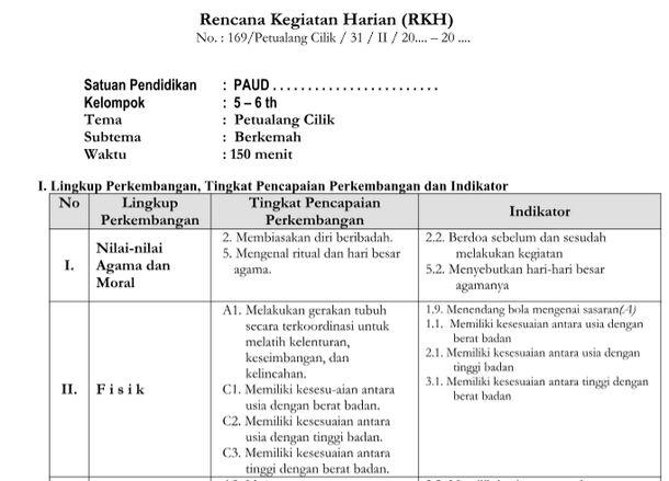 RPPH Tema Petualang Cilik 5-6 Tahun Kurikulum 2013