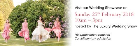 Bridal party in pink running towards the camera. Text explaining details of Ashridge House's upcoming wedding showcase