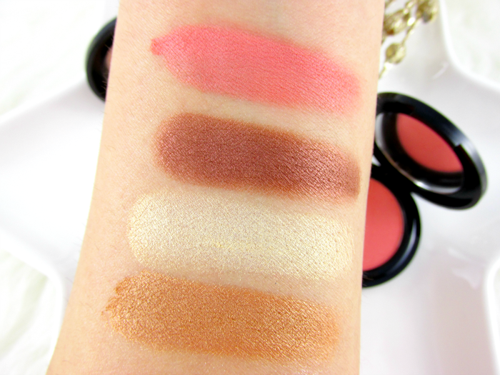 Swatches glominerals: glo Eyeshadow Trio Copper Sheen & glo Blush Papaya