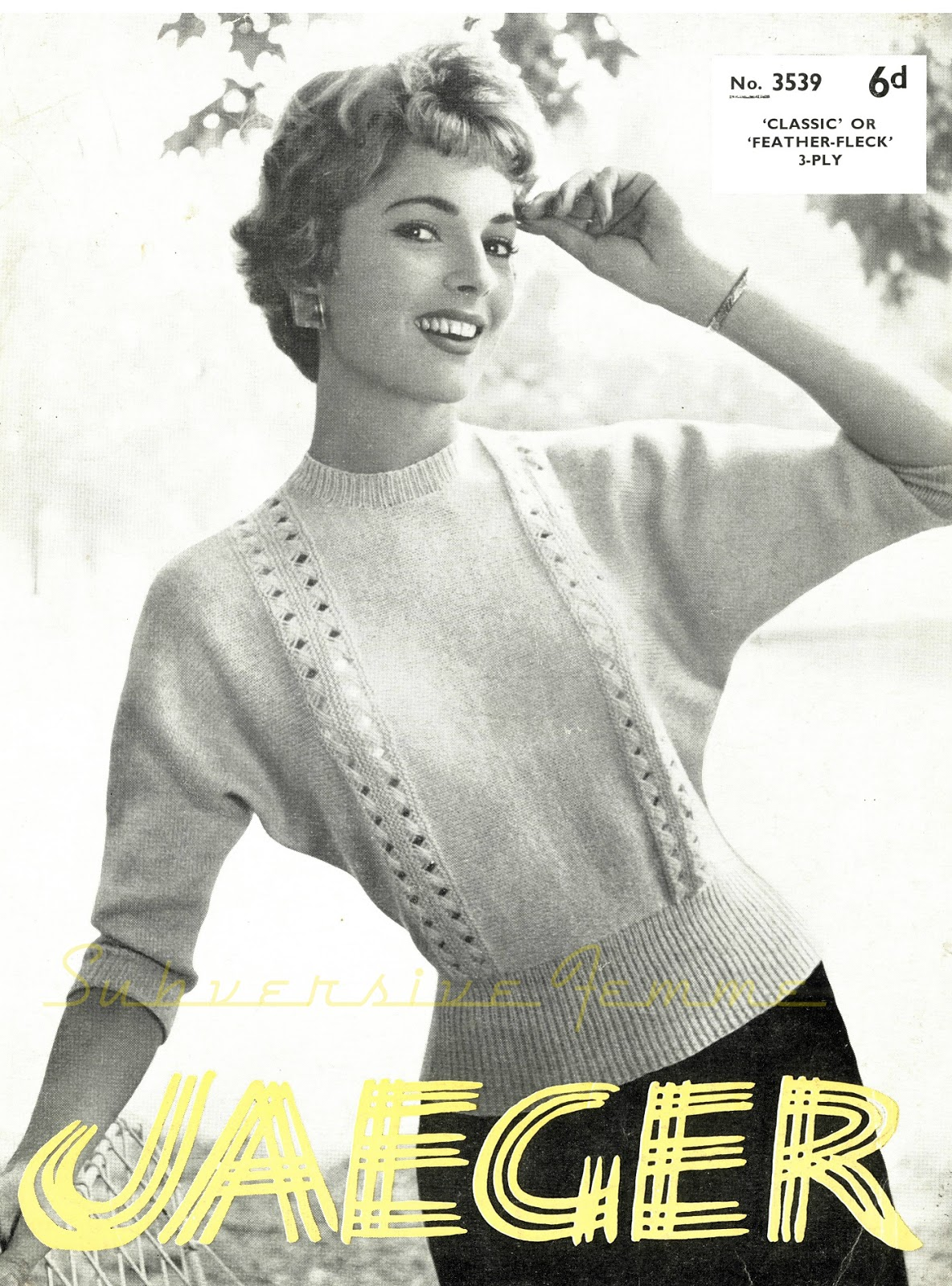 The Vintage Pattern Files: 1950s Knitting - Dolman Sweater with Openwork