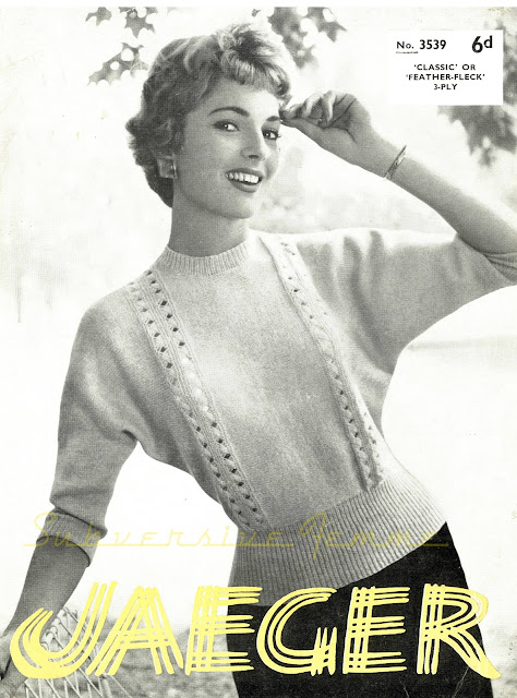 The Vintage Pattern Files: Free 1950s Knitting Pattern - Dolman Sweater with Openwork