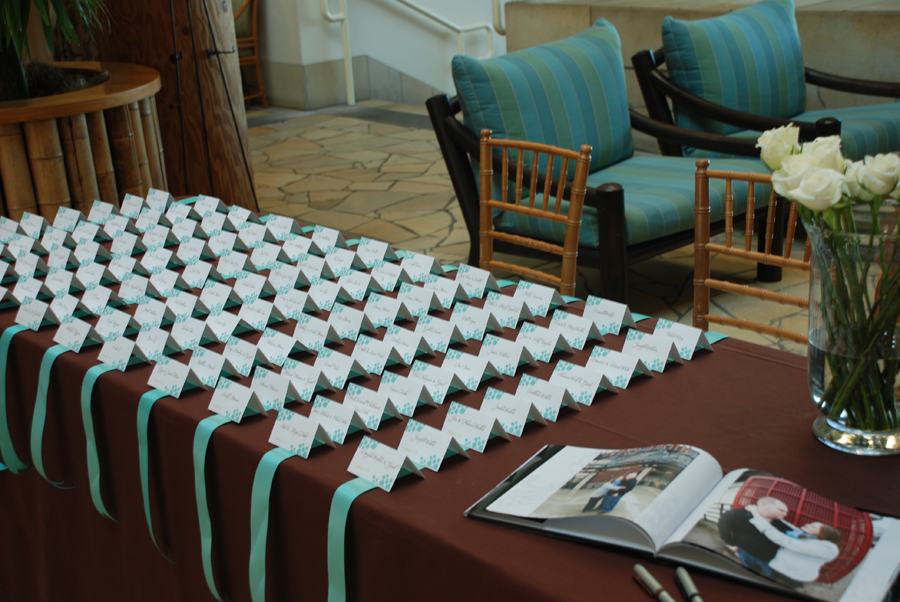Chocolate And Teal Wedding Reception: Ribbons And Ruffles: Escort Cards