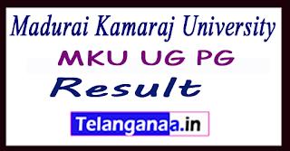 Madurai Kamaraj University Result MKU UG PG Results 2017