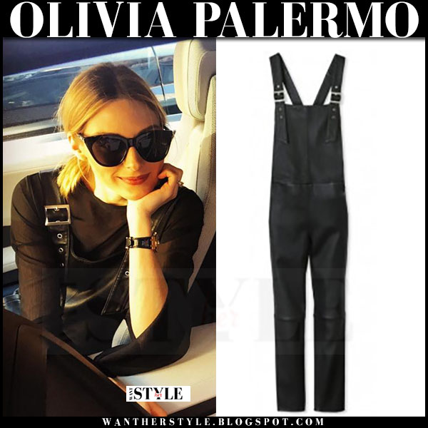 Olivia Palermo in black leather maison de reefur overalls, black top and black sunglasses what she wore instagram