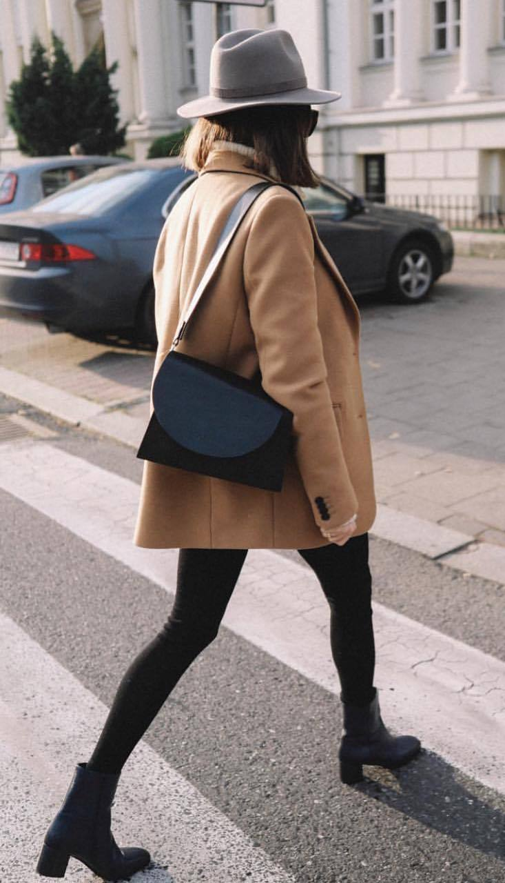 trendy winter outfit / hat + brown coat + bag + boots + black skinnies